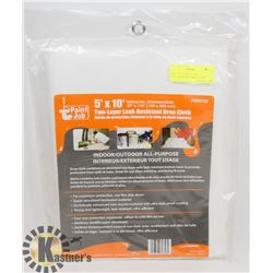NEW! 5'X10' TWO-LAYER LEAK-RESISTANT DROP CLOTH
