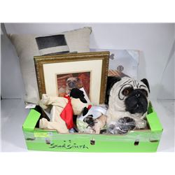 FLAT OF ASSORTED PUG DOG COLLECTIBLES INCLUDING