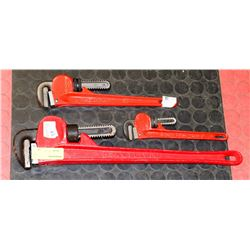LOT OF THREE ASSORTED SIZE PIPE WRENCHES