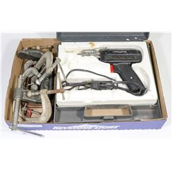 SOLDERING GUN KIT WITH CLAMPS.