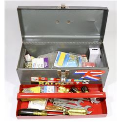 SMALL TOOLBOX WITH CONTENTS.