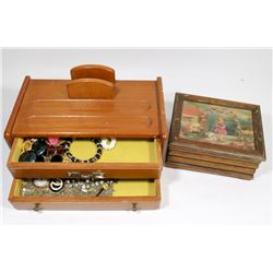 PAIR OF VINTAGE ESTATE JEWELLERY BOXES W/JEWELLERY