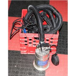 1/3 HP STAINLESS STEEL SUBMERSIBLE SUMP PUMP.