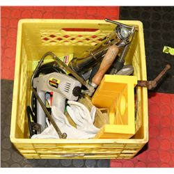 CRATE OF MISC INCL SHARP SHOOTER, CLAMPS, HOLE SAW