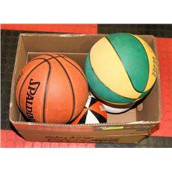 BOX OF 5 ASSORTED BALLS- BASKETBALL, FOOTBALL