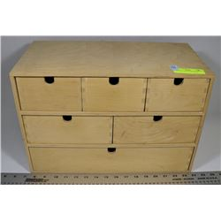 WOOD BOX WITH 6 DRAWERS