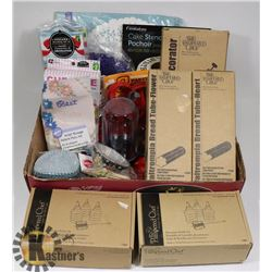 LARGE BOX OF BAKING ACCESSORIES AND PAMPERED CHEF