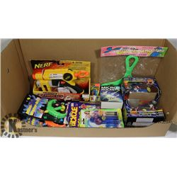 BOX OF NEW TOYS INCLUDING A NERF GUN