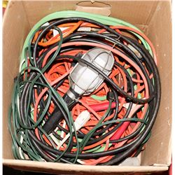 BOX OF JUMPER CABLES , WORK LIGHT AND CORDS