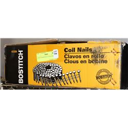 "CASE OF BOSTITCH 2"" COIL NAILS."