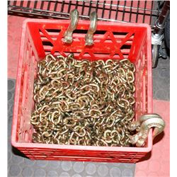 CRATE OF NEW CHAIN AND HOOKS