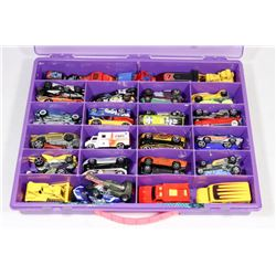 BOX WITH 50 HOT WHEEL CARS - SOME VINTAGE.