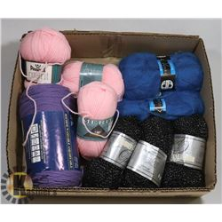 9 PACKAGES OF YARN INCL GENUINE MOHAIR BLEND