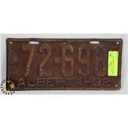 ALBERTA 1932 LICENSE PLATE