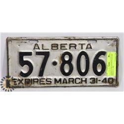 ALBERTA 1940 LICENSE PLATE EXP MARCH 31, 1940