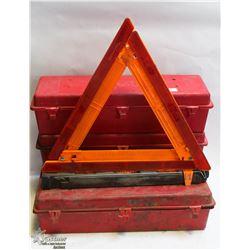 LOT OF 4 EMERGENCY WARNING SAFETY TRIANGLE KITS