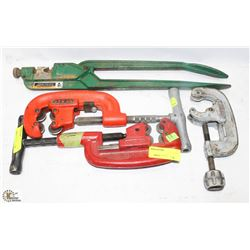 3 ASSORTED RIDGID PIPE CUTTERS AND 1 GREENLEE PIPE