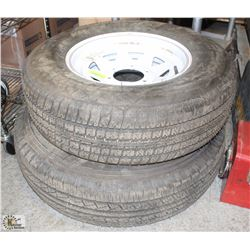 LOT OF 2 ASSORTED RADIAL TIRES, AS IS,