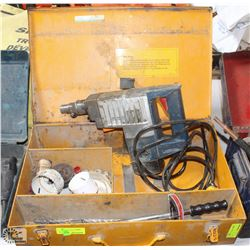 AEG POWER HAMMER DRILL WITH HOLE SAW & BITS.