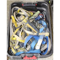 TOTE FULL OF ASSORTED LANYARDS & FALL PROTECTION
