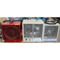 GROUP OF 3 ASSORTED 240V COMMERCIAL HEATERS