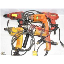 """GROUP OF 5 ASSORTED 3/8"""" POWER DRILLS"""