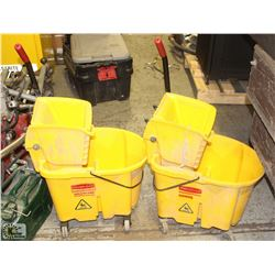 PAIR OF MOP BUCKETS WITH WRINGERS