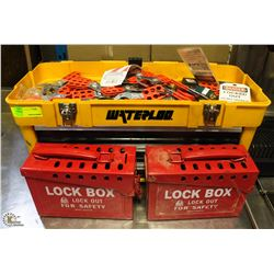2 LOCK OUT BOXES WITH LARGE ASSORTMENT OF LOCK OUT