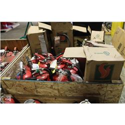 LARGE CRATE FILLED WITH FIRE EXTINGUISHERS
