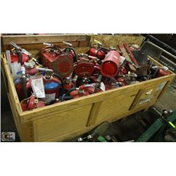 EXTRA LARGE CRATE WITH ASSORTED FIRE EXTINGUISHER