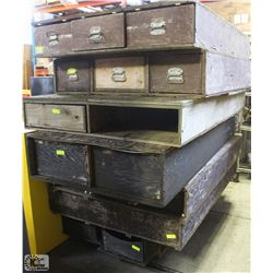 PALLET OF WOOD TOOL BOXES