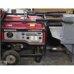 HONDA EB6500X GAS GENERATOR, UNTESTED - AS IS