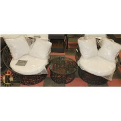 4) RATTAN STYLE SET OF 2 TUB CHAIRS W/ END TABLE.