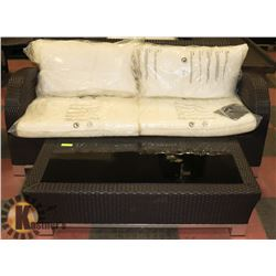 1) RATTAN STYLE LOVE SEAT WITH COFFEE TABLE.