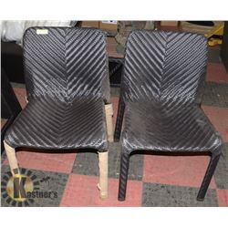 2) RATTAN STYLE PAIR OF SIDE CHAIRS