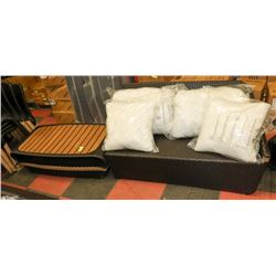 18) RATTAN STYLE CORNER LOVESEAT W/ COFFEE TABLE.
