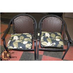 2 WICKER AND WOOD PATIO CHAIRS WITH CUSHIONS