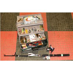 FISHING TACKLE BOX WITH HOOKS., WITH NRE RHINO ROD
