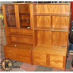 2 IKEA BILLY BOOKCASES WITH DOORS,