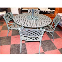 CAST IRON PATIO TABLE WITH 4 CHAIRS AND UMBRELLA