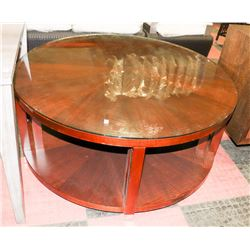 WOOD TONE ROUND COFFEE TABLE WITH GLASSTOP