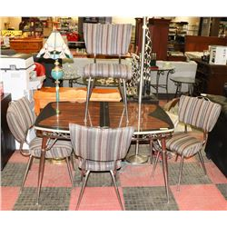 VINTAGE TABLE WITH 4 UPHOLSTERED SIDECHAIRS.