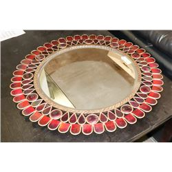 GOLD TRIM ROUND WALL MIRROR
