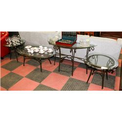 METAL AND GLASS 4 PC COFFEE TABLE SET,