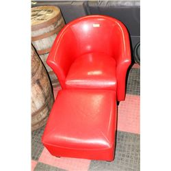 RED LEATHERETTE TUB CHAIR WITH OTTOMAN