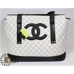 CHANEL REPLICA BLACK LOGO METALLIC PURSE
