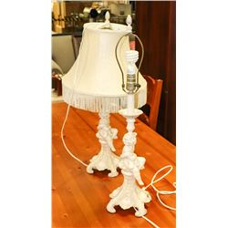 PAIR OF CHERUB LAMPS WITH ONE SHADE