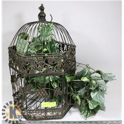 VINTAGE BIRD CAGE WITH PLANT