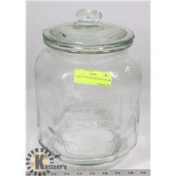 GIANT 5 CENTS PEANUTS GLASS JAR