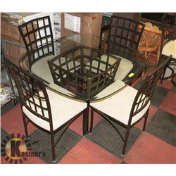 GLASS & METAL KITCHEN TABLE WITH 4 CHAIRS.